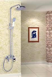 golden bathroom shower column faucet wall: chrome finish bath shower mixer faucet set single handle waterfall rain with handshower shower faucets