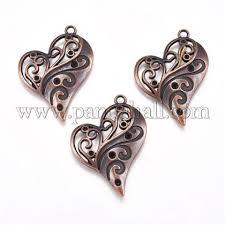 Heart Zinc Alloy Pendant Rhinestone <b>Enamel</b> Settings, <b>Red</b> Copper ...