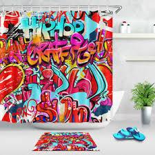 Fabric <b>Waterproof Bathroom Shower Curtain</b> Decor Hooks Set Hip ...