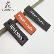 SLOOBAO <b>10pcs Handmade</b> DIY <b>PU Leather</b> label washable ...