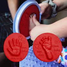 Baby Items <b>Baby Hand Foot Inkpad</b> Drying Soft Clay Baby Handprint ...