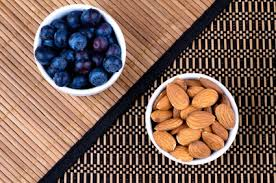 bowls of blueberries and almonds
