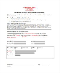 credit card authorization form sample examples in word pdf recurring credit card authorization form