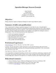 resume example for summary  seangarrette cobusiness manager resume summary example operation manager resume example   resume example for summary