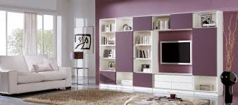awesome stunning living room shelving unit ideas with white purple open shelves space saving furniture also purple wall and floating tv wall plus white sofa bespoke furniture space saving furniture wooden