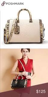 JUST IN! <b>Genuine</b> Leather Snake <b>Embossed</b> Cream Bag Gorgeous ...