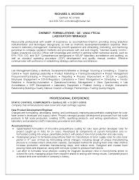 analytical chemist resume format