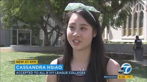 meet cassandra hsiao the girl who got accepted into all ivy image via abc7