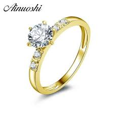 [EBay] <b>Ainuoshi 10K Solid Yellow</b> Gold Wedding Ring 0.8 Ct Round ...