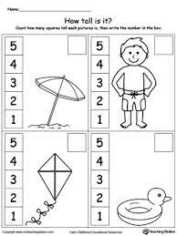 Kindergarten Measurement Printable Worksheets | MyTeachingStation.comMeasure the Height of Each Summer Item