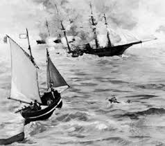 Photograph The Confederate blockade runner Alabama battles the Union     s Kearsarge in the harbor of Cherbourg Kids Britannica