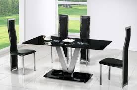 Modern Dining Room Set Amazing Black Glass Top Modern Dining Tables With V Base Legs Also