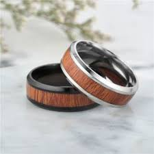 Titanium steel inlaid wooden skin ring Wooden men's finger ... - Vova