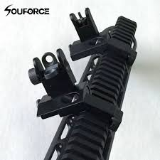 <b>1 Pair</b> US Tactical BUIS Front and <b>Rear</b> Side Sight Flip Up 45 ...
