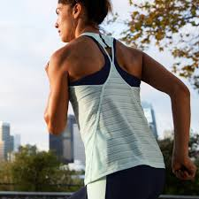 The women's <b>Q Speed Striped</b> Tank offers an unfussy fit that helps ...