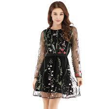 <b>Sexy Women Floral</b> Embroidery <b>Dress</b> Sheer Mesh Summer Boho ...