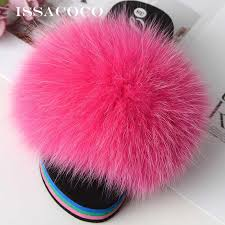 <b>ISSACOCO Women's</b> Flat Indoor Fox Fur Hair Slippers <b>Women</b> ...