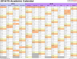 academic calendars 2014 2015 as printable excel templates template 1 academic calendar 2014 15 for excel landscape orientation months horizontally