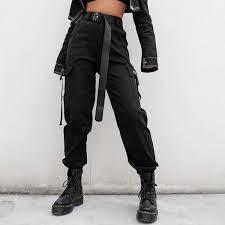 <b>High</b> Waisted <b>Black Nylon</b> Cargo Pants – <b>WHITE</b> MARKET USA