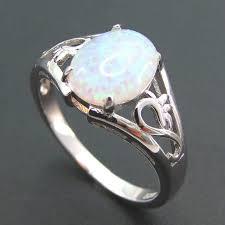 Online Shop Fashion Silver Jewelry White fire opal Ring 100% <b>925</b> ...