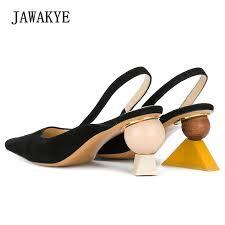 <b>New Sexy</b> Geometric Block <b>heel</b> Sandals Women Black Pointed ...