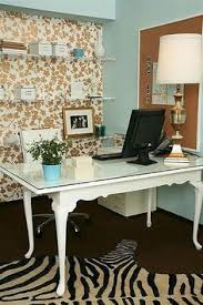love the wallpaper and desk chic office ideas