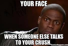 Your face When someone ELSE TALKS TO your crush. meme - Kevin Hart ... via Relatably.com