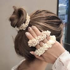 <b>14 Colors Woman</b> Elegant Pearl Hair Ties Beads <b>Girls</b> Scrunchies ...