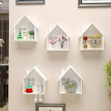 <b>Creative Wooden Wall Decor</b> Frame House Shape Storage Rack ...