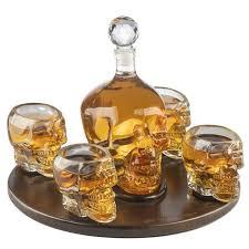 <b>Skull</b> Whiskey Decanter Large Set with 4 <b>Skull</b> Shot <b>Glasses</b> ...