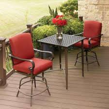 oak cliff 3 piece metal outdoor balcony height bistro set with chili cushions balcony height patio dining furniture