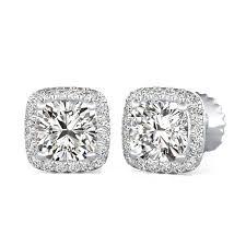 <b>Diamond</b> Halo <b>Earrings</b> with <b>Cushion</b> Diamonds by 90210Jewelry.com