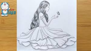 How to draw A <b>Cute Girl with</b> Butterfly || Pencil sketch || Drawing ...