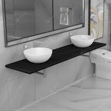 vidaXL <b>Three Piece Bathroom Furniture</b> Set Ceramic Sale, Price ...