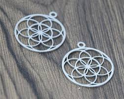 Sacred <b>Geometry Sterling silver</b> Flower of life Charm pendants 16 ...