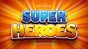 Free Vector   <b>Super heroes</b> cartoon text effect