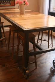 dining table with wheels: bar height dining table on quot caster wheels with reclaimed wood surface seats