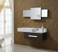 brilliant square shaped mirror panel with brown wooden frame above spectacular floating small bathroom vanities placed brilliant bathroom vanity mirrors decoration black wall