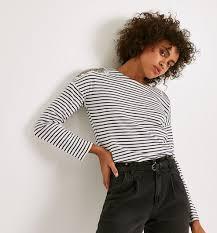 <b>Embroidered</b> stripe <b>T</b>-<b>shirt</b> - Navy blue stripes - <b>Women</b> - Tops ...
