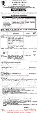 admin teaching vacancies in gc university faisalabad sahiwal admin teaching vacancies in gc university faisalabad sahiwal campus 2015 application form