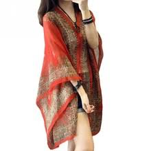 Women scarf shawl poncho printed sunscreen scarf <b>sun protection</b> ...