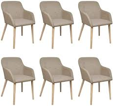 <b>Oak Indoor Fabric</b> Dining Chair Set 6 pcs with Armrest Light Grey ...