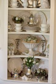 ideas china hutch decor pinterest: spring cupboard such a pretty display of dishes silver and spring decor via