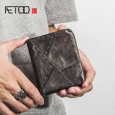 <b>AETOO</b> Head cowhide Men's short wallet <b>retro</b> leather ticket clip, put ...