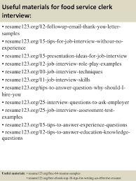 Top   food service clerk resume samples         Useful materials for food service clerk