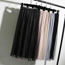 Women Girl <b>Sweet Sequin Glitter</b> Long Pleated <b>Skirts</b> Elastic Waist ...