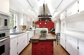 kitchen red cabinets bathroom fixtures bold wall
