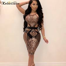 Kricesseen <b>Sexy</b> Women <b>Halter</b> Neck Sequined Bodycon Dress ...