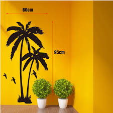 palm tree wall stickers: home decor cool coconut palm tree mural wall stickers wall decals size cm free
