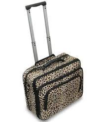 LEOPARD CHEETAH Rolling Canvas <b>Laptop Bag</b> Brief <b>Case</b> FITS A ...